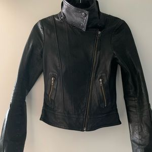 Mackage black leather jacket XS